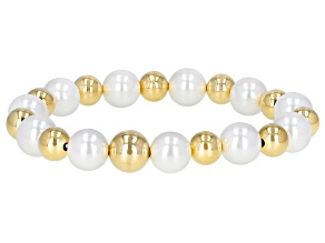 "Moda Al Massimo™ 18K Yellow Gold Over Bronze Pearl Simulant Station Gold Bead Stretch 8"" Bracelet"