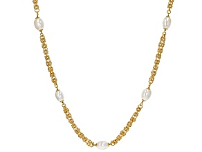 Moda Al Massimo™ 18K Yellow Gold Over Bronze Pearl Simulant Station 36