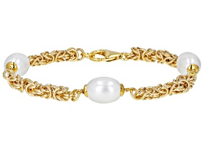 "Moda Al Massimo™ 18K Yellow Gold Over Bronze Pearl Simulant Station 9"" Bracelet"