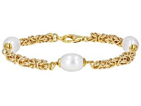Moda Al Massimo™ 18K Yellow Gold Over Bronze Pearl Simulant Station 9