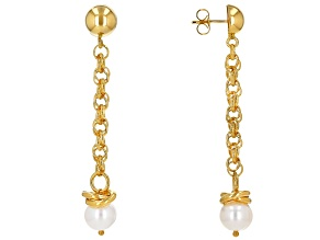 Moda Al Massimo™ 18K Yellow Gold Over Bronze Pearl Simulant Earrings