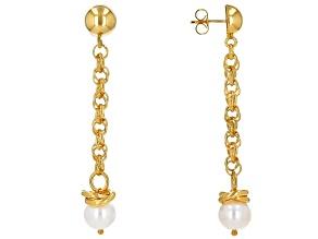 Moda Al Massimo™ 18K Yellow Gold Over Bronze Pearl Simulant Earrings