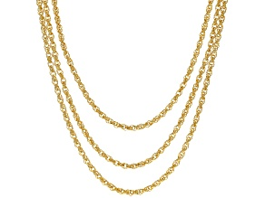 Moda Al Massimo™ 18K Yellow Gold Over Bronze Multi-Row Loose Rope with Pearl Simulant 20