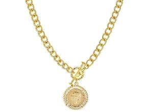 "Moda Al Massimo™ 18K Yellow Gold Over Bronze Faux Lira Coin Charm 24"" Curb Necklace"