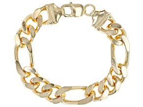 Moda Al Massimo™ 18K Yellow Gold Over Bronze 14MM Figaro Bracelet