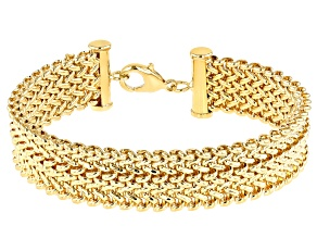 Moda Al Massimo™ 18K Yellow Gold Over Bronze Link 8 Inch Bracelet