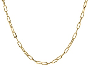 18K Yellow Gold Over Bronze Paperclip Chain 20 Inch Necklace