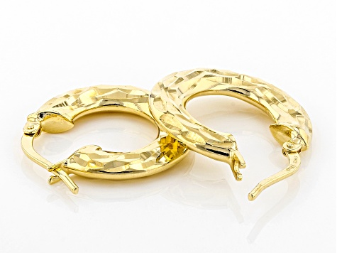 Moda Al Massimo™ 18K Yellow Gold Over Bronze Hammered Hoop Earrings