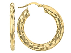 Moda Al Massimo™ 18K Yellow Gold Over Bronze 19.3MM Hammered Hoop Earrings
