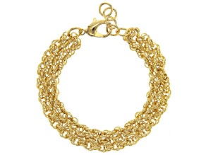 Moda Al Massimo™ 18K Yellow Gold Over Bronze Rolo Link 8 Inch Bracelet
