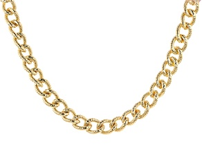 Moda Al Massimo™ 18K Yellow Gold Over Bronze Cuban Chain 20 Inch Necklace