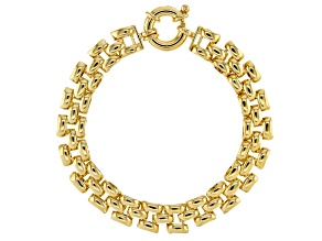 Moda Al Massimo™ 18K Yellow Gold Over Bronze 9.25MM Panther Link 7.5 Inch Bracelet