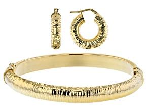Moda Al Massimo™ 18K Yellow Gold Over Bronze Set of 2 Diamond-Cut Hoop Earrings & 7 Inch Oval Bangle