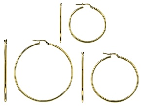 Moda Al Massimo™ 18K Yellow Gold Over Bronze Set of 3 35MM-45MM-55MM Tube Hoop Earrings