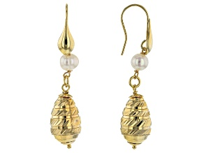 Moda Al Massimo™ 18K Yellow Gold Over Bronze Tear Drop Pearl Simulant Earrings