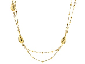 Moda Al Massimo™ 18K Yellow Gold Over Bronze Station Pearl Simulant Double Strand 32 Inch Necklace