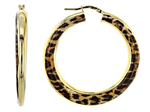 Moda Al Massimo™ 18K Yellow Gold Over Bronze Enamel Leopard Tube Hoop Earrings