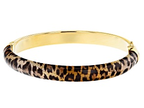 Moda Al Massimo™ 18K Yellow Gold Over Bronze Leopard Enamel Oval 7 Inch Bracelet