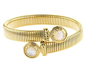 Moda Al Massimo™ 18K Yellow Gold Over Bronze Mother-of-Pearl Simulant Bypass Tubogas Bracelet
