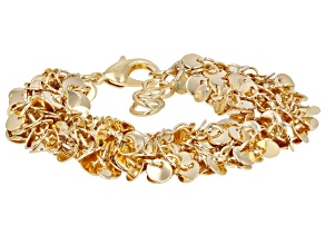 18K Yellow Gold Over Bronze Multi-Row Bracelet