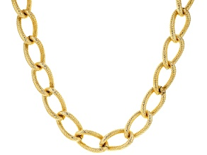 18K Yellow Gold Over Bronze 17.9MM Curb Necklace