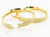 18K Yellow Gold Over Bronze 50MM Textured Tube Hoop Earrings