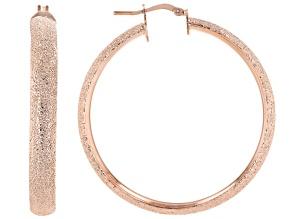18K Rose Gold Over Bronze 50MM Textured Tube Hoop Earrings