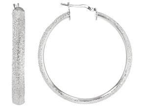 Rhodium Over Bronze 50MM Textured Tube Hoop Earrings