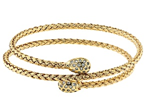 18K Yellow Gold Over Bronze White Cubic Zirconia  Woven Wrap Bangle
