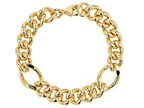 18K Yellow Gold Over Bronze 13.9MM Curb Station Link Bracelet
