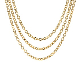 18K Yellow Gold Over Bronze 6.1MM Multi-Row Cable Necklace