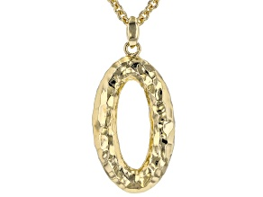 Moda Al Massimo® 18K Yellow Gold Over Bronze Hammered Oval Pendant with Cable Chain