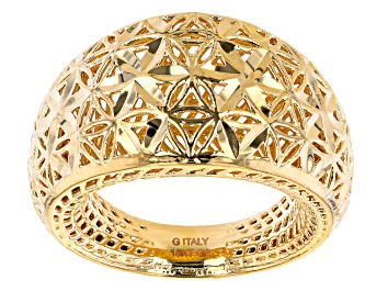 Picture of 18K Yellow Gold Over Bronze Diamond-Cut 14MM Dome Ring