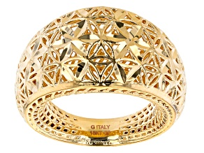 18K Yellow Gold Over Bronze Diamond-Cut 14MM Dome Ring