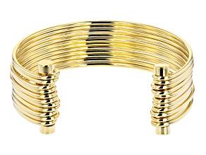 Moda Al Massimo® 18K Yellow Gold Over Bronze Multi-Row Cuff Bangle