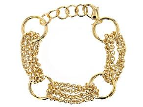 18K Yellow Gold Over Bronze Circle Station Link Bracelet