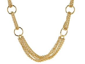 18K Yellow Gold Over Bronze Circle Station Link Necklace