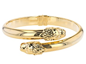 18K Yellow Gold Over Bronze Bypass Double Headed Lion Hinged Bangle