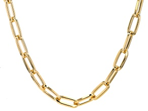 18K Yellow Gold Over Bronze 10.2MM Paperclip Chain