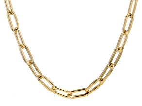 18K Yellow Gold Over Bronze Paperclip Chain