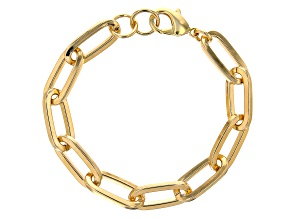 18K Yellow Gold Over Bronze 10.3MM Paperclip Link Bracelet