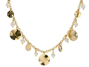 18K Yellow Gold Over Bronze Disc Station Pearl Simulant Necklace