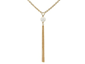 18K Yellow Gold Over Bronze Pearl Simulant Cable Tassel Necklace