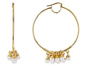 Moda Al Massimo® 18K Yellow Gold Over Bronze Pearl Simulant Cluster Tube Hoop Earrings