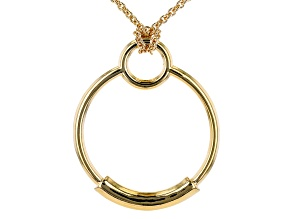 18K Yellow Gold Over Bronze Circle Pendant with Chain