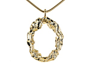 18K Yellow Gold Over Bronze Oval Pendant with Snake Chain