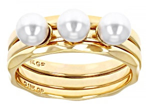 18K Yellow Gold Over Bronze Pearl Simulant  Rings