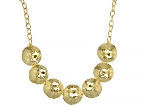 18K Yellow Gold Over Bronze Hammered Disc Link Necklace