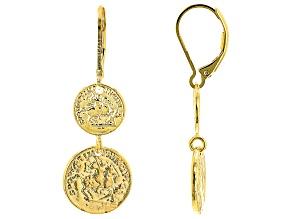 18K Yellow Gold Over Bronze  Coin Drop Earrings