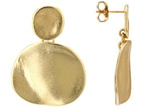 18K Yellow Gold Over Bronze  Matte Dangle Earrings
